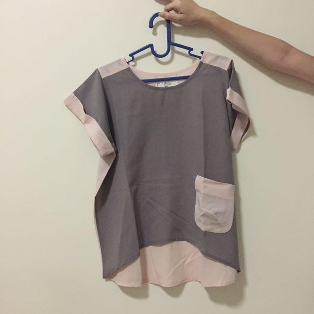 Xsml Pink Grey Top Size M