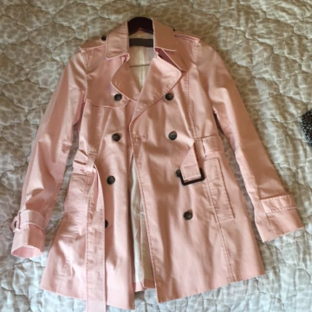 ZARA baby pink trench coat XS barely worn