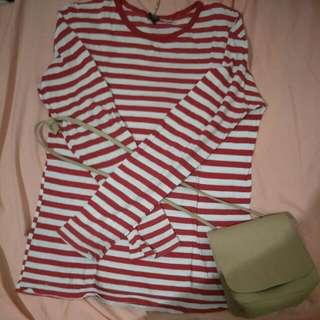 Baju Lengan Panjang stripes Red White