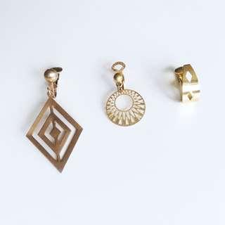 美國古董單邊夾式耳環三件組 - Art Deco 幾何