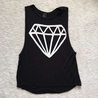 Black Soft Tank With Diamond Logo