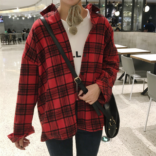 new black-red check jacket top
