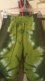 green tie dye pants
