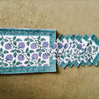 Green Floral Hand Block Printed Table Mats And Napkins (Set Of Twelve)