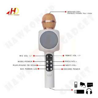 Bluetooth mic wireless microphone  Karaoke music  With disco light   USB / memory card / Bluetooth / Fm / AUX out(headset )