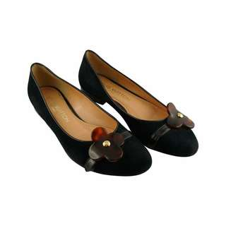 Louis Vuitton Black Suede and Resin Flower Ballet Flat