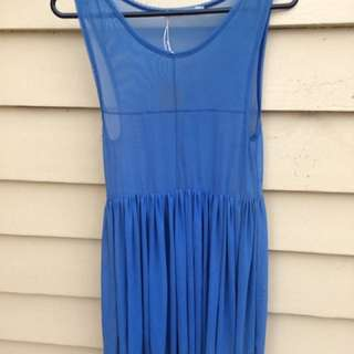Mossman Blue Sheet Mesh See Through Dress