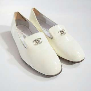 CHANEL Ivory Patent Leather Loafers
