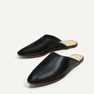ZARA V-cut Leather Slides
