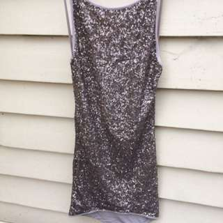 Gold Sequin Open Back Dress