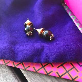 Tory Burch Resin Logo Stud Earring In Metallic Lyst