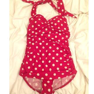 Esther Williams Bathing Beauty One Piece Swimsuit--red with white polka dots