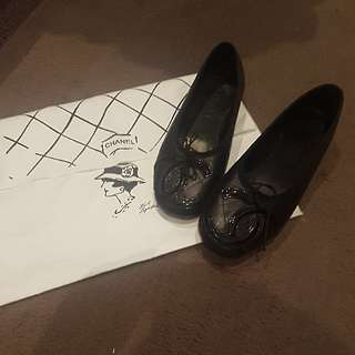 Authentic Chanel Ligne Cambon Italy Quilted Leather Ballet flats 37