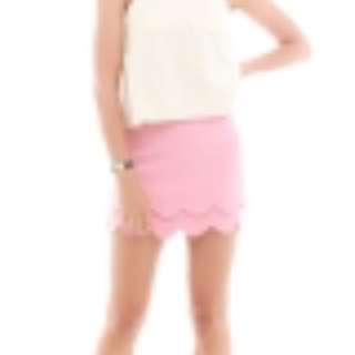 Anti Clockwise Duo Layer Scallop Skirt in Blush