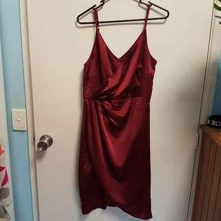 Red Silk Dress Size 12