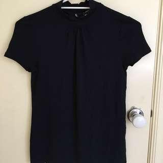*REDUCED* BASQUE High Neck Ruffled Neck Shirt (Navy)