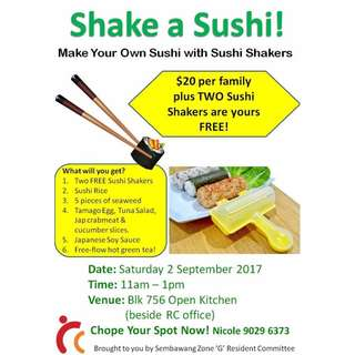 Shake a Sushi Workshop - $20 per family only