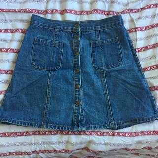 Denim A-line Button Up Skirt