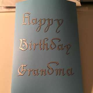 Calligraphy 3D Pop-up Birthday Card For Grandma