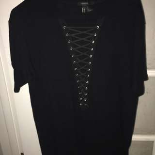 Forever 21 Lace-Up Tee