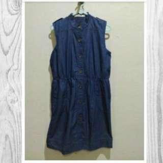Mini Dress Jeans Denim Hardware By Luna Maya