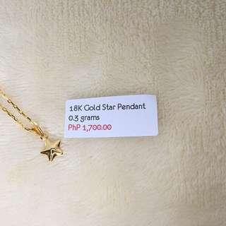 18K Gold Star Pendant