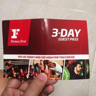 Fitness First 3 Days Guest Pass