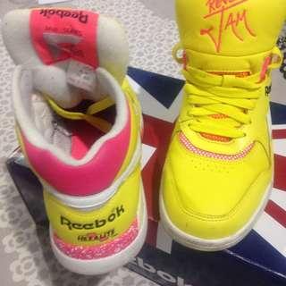 As New Reebok Reverse Jam 80's/90's Hexalite White/Pink/Yellow Sneakers