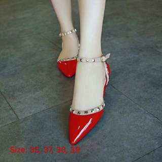 Patent Leather Studded Flats