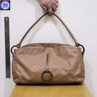 Gacel Authentic Beige Satchel Leather Bag  (BPNO#4)