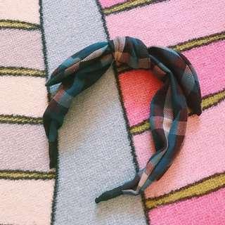 🚚 正韓 格紋扭結髮箍