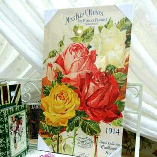 Vintage English Country Rose Print Painting (S)