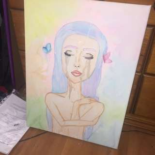 Pastel Watercolour Butterfly Girl Painting