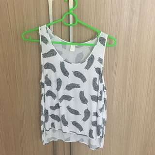 H&M Tank Top With Feather Pattern