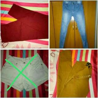 maroon leggings,  denim pants and H&M leggings