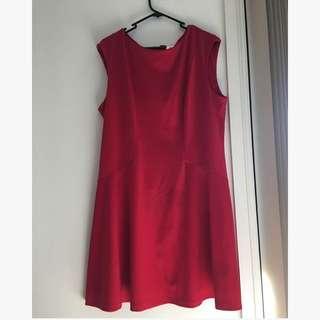 Red skater dress size 16