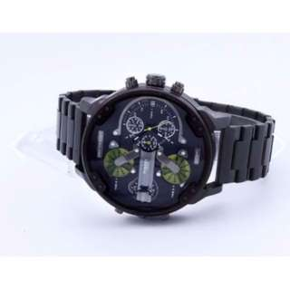 "BN Premium ""Only The Brave"" DZ 3-Clock Stainless Steel Watch (Sliverish Black + Green Edition)"