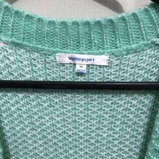 Mint Green Flower Sweater/ Winter Cardigan