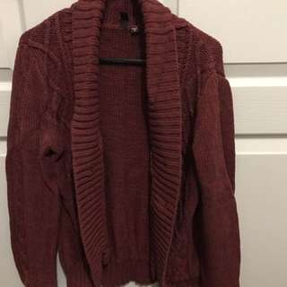 Maroon Knitted Cardigan