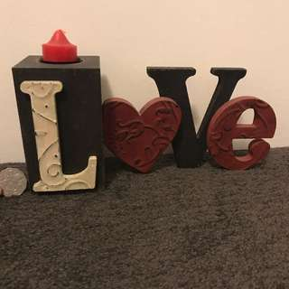LOVE Wooden Candle Decor