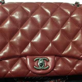 100%real Chanel罕有深紅色羊皮手袋