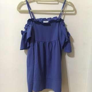 全新小露香肩韓版甜美上衣紫蘿蘭色