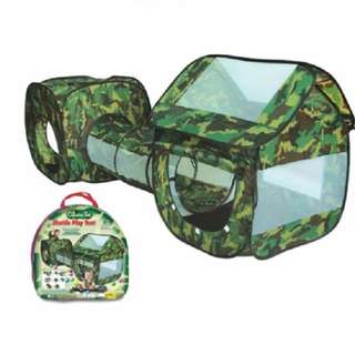 3 Piece Pop Play Tent Army Adventure House & Tunnel In/Outdoor Den (Camouflage)