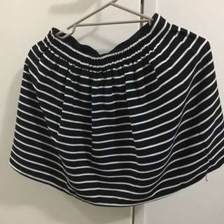 Navy Blue And White Stripe Skirt Size 8