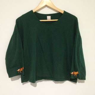 Green Crop Top 3/4 Sleeves With Fox