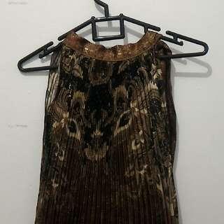 Brown Sleeveless Batik Dress