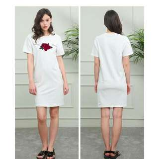 Embroidered Floral Letter Cotton Dress