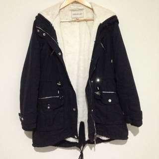 Forever New Navy Jacket Removable Inside Fur Size 10