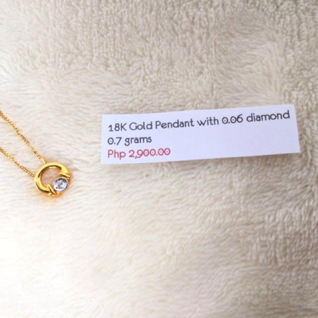 18K Gold Pendant With 0.06carat Diamond