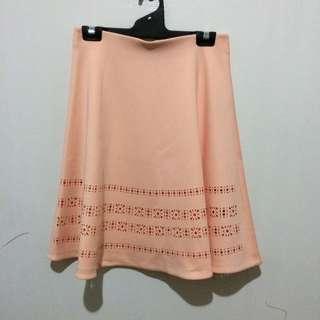 Pink Scuba Cutout Midi Skirt